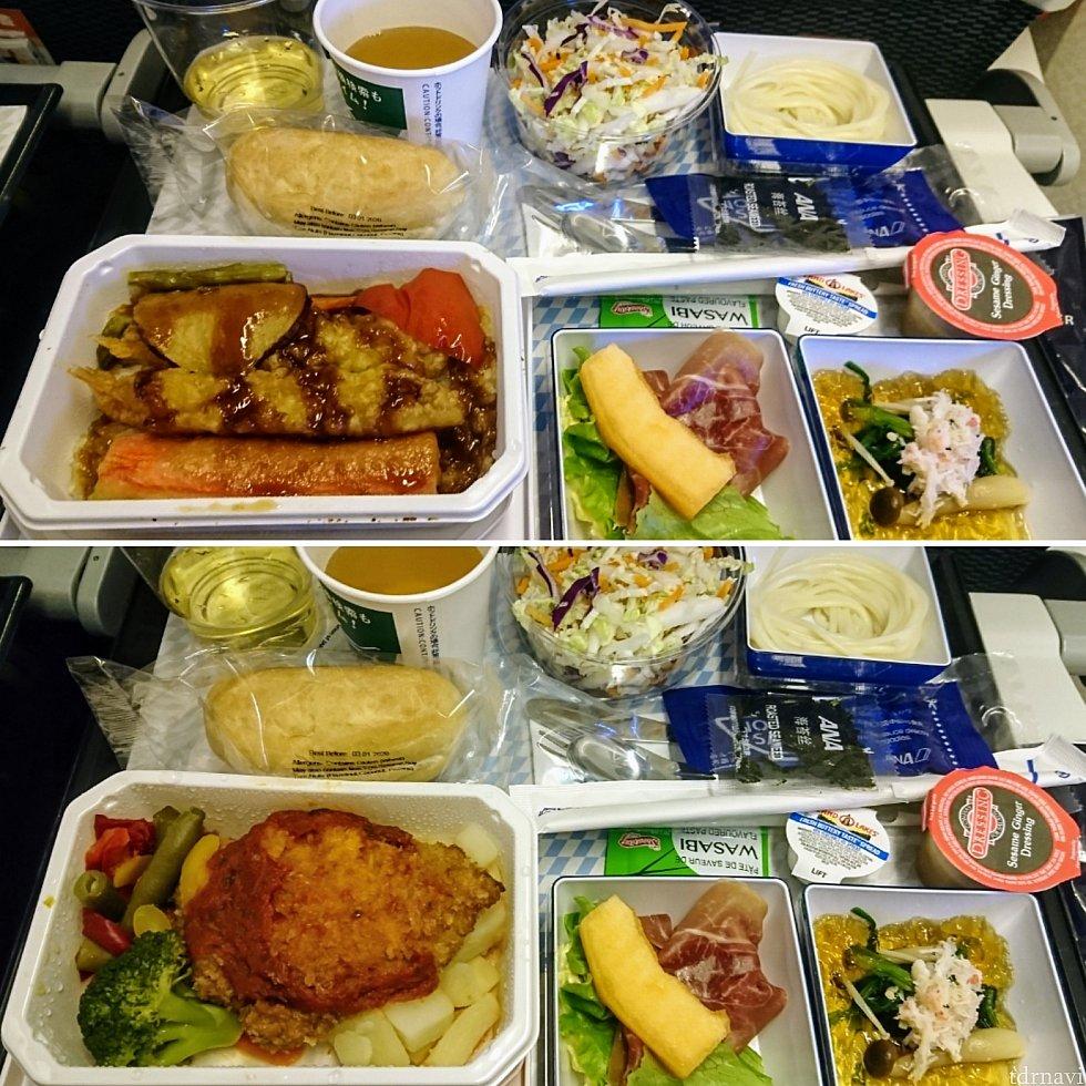 【上】天丼 【下】チキンカツレツ どちらもボリュームたっぷり。うどんは前菜?
