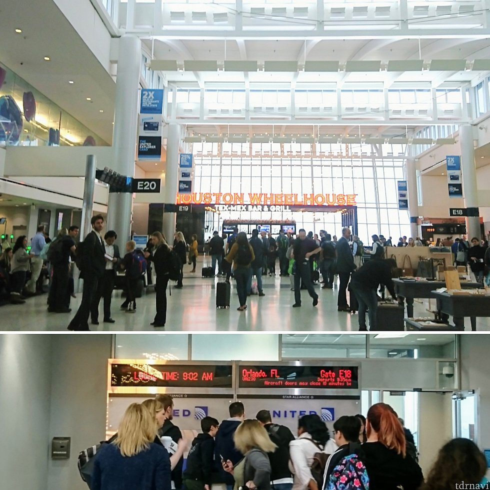 搭乗ゲート前。ヒューストンとオーランドでは1時間の時差があるので、帰国時はご注意を。