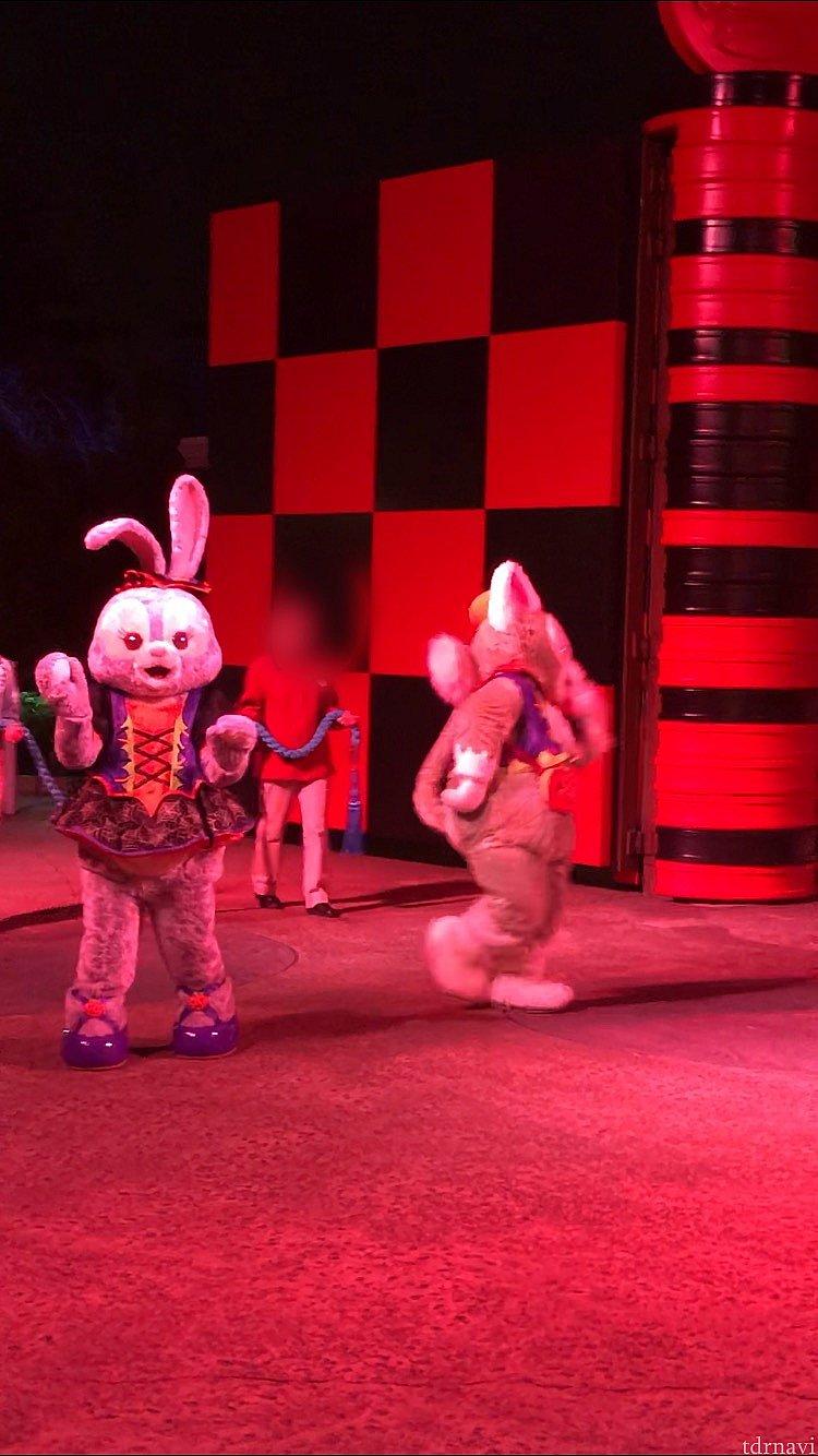 徒歩で登場するジェラトーニとステラルー! 後ろにはすぐロープを持ったキャストさんが。 去年は仮装ゲストが後ろに参加していましたが、今年はどうかな??