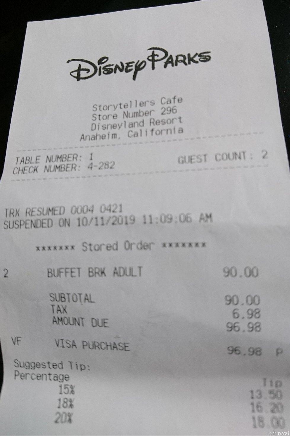 大人2人分です。<br> この料金にチップがプラスになります。