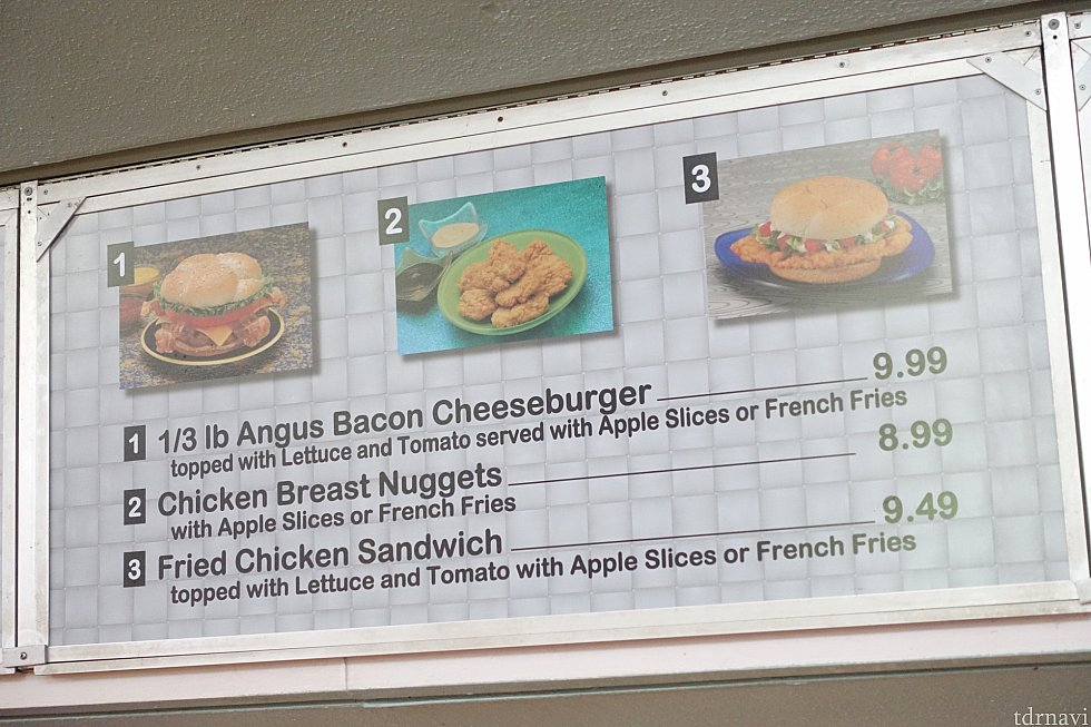 メニュー表。サンドウィッチが中心。