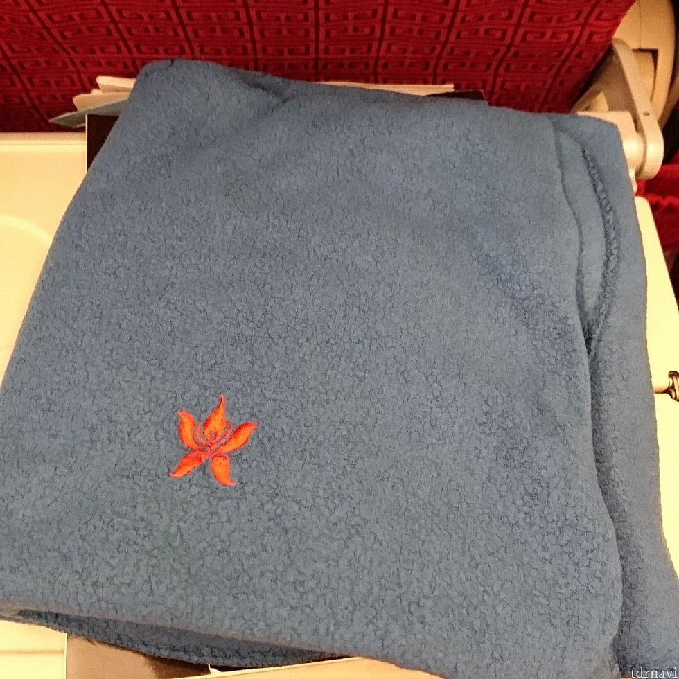 ペラペラの毛布。でも北米系のエアに比べたら肌触りはマシでしたw 刺繍がかわいい!