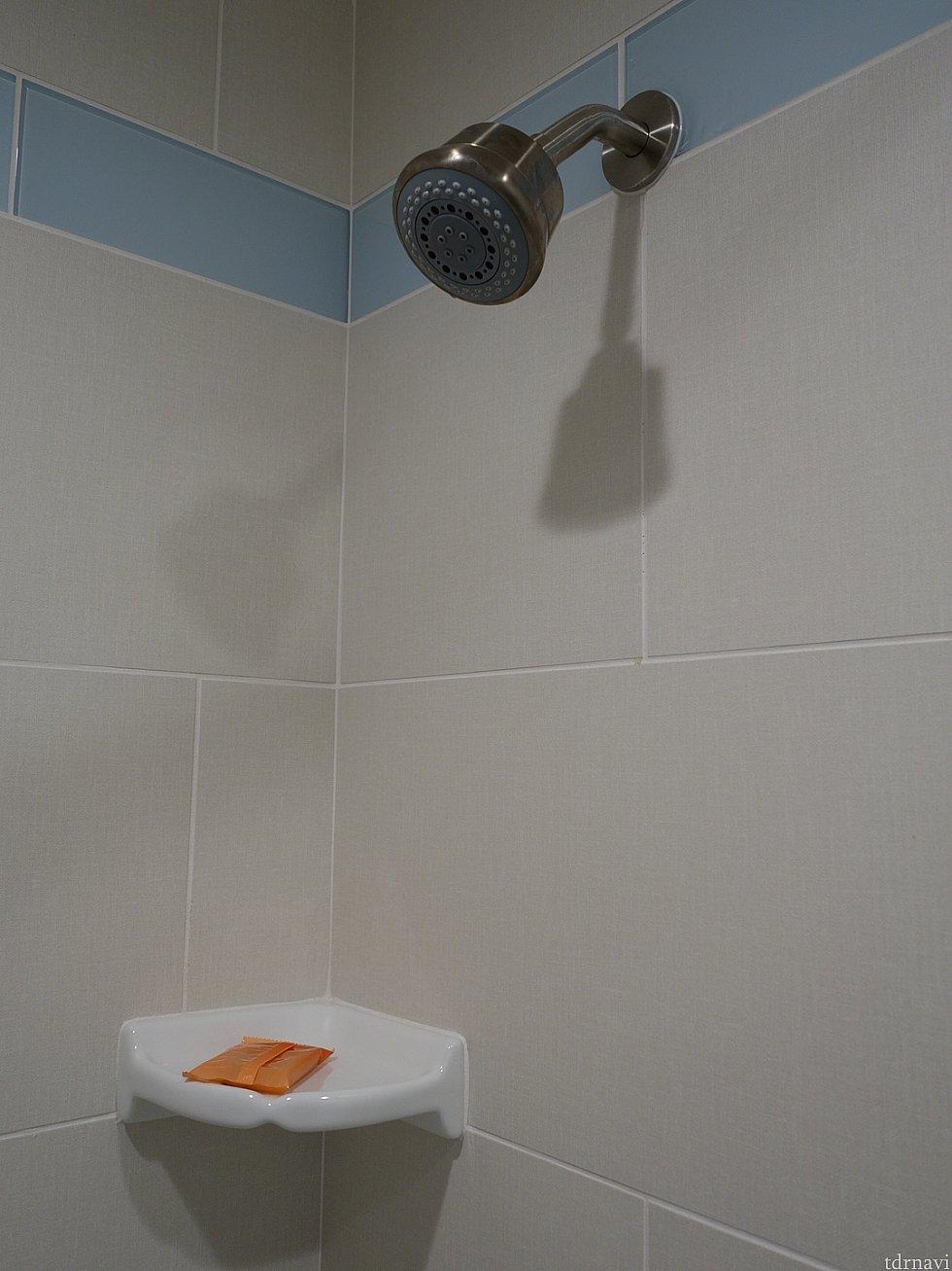 シャワーは固定ヘッド。これは不便かな…