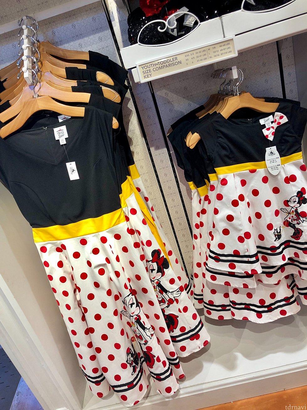 ミニーちゃんのドレスは子供用もあるので、親子でおソロが出来るんですね〜。親子でダッパー良いですね!$108