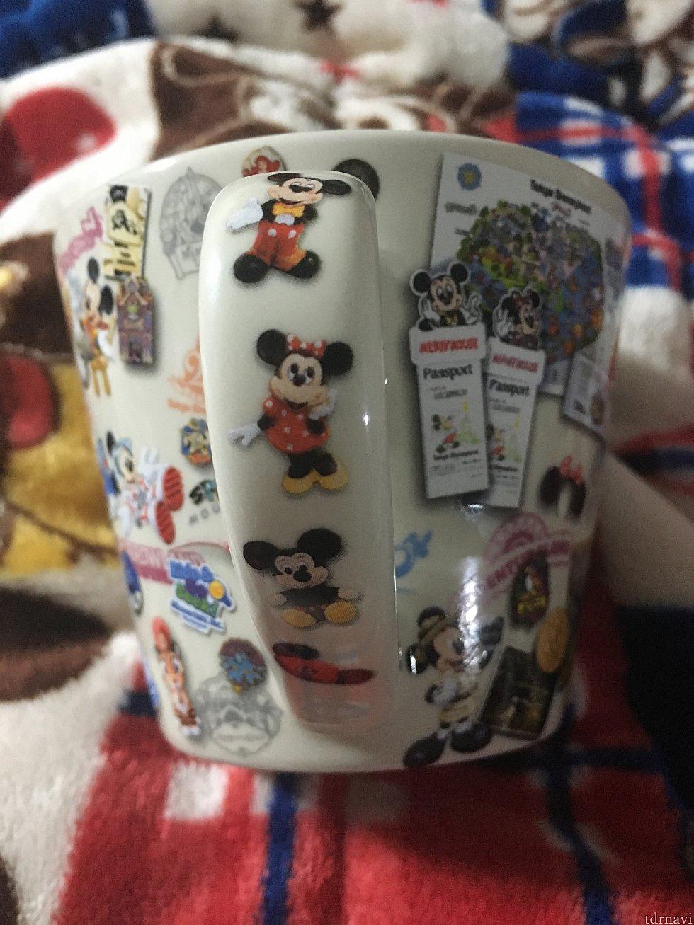 マグカップ 1400円 持ち手までイラスト付き