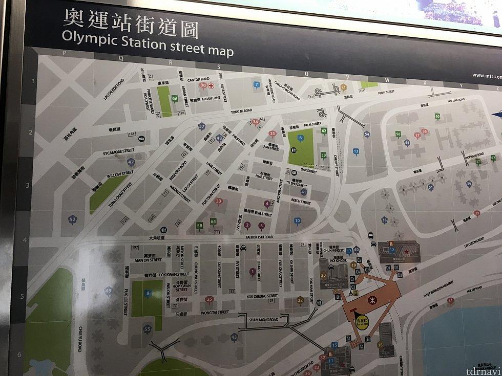 オリンピック駅周辺案内図。中央にある紫色の4番がホテル。B出口もしくはC5出口が最寄出口です