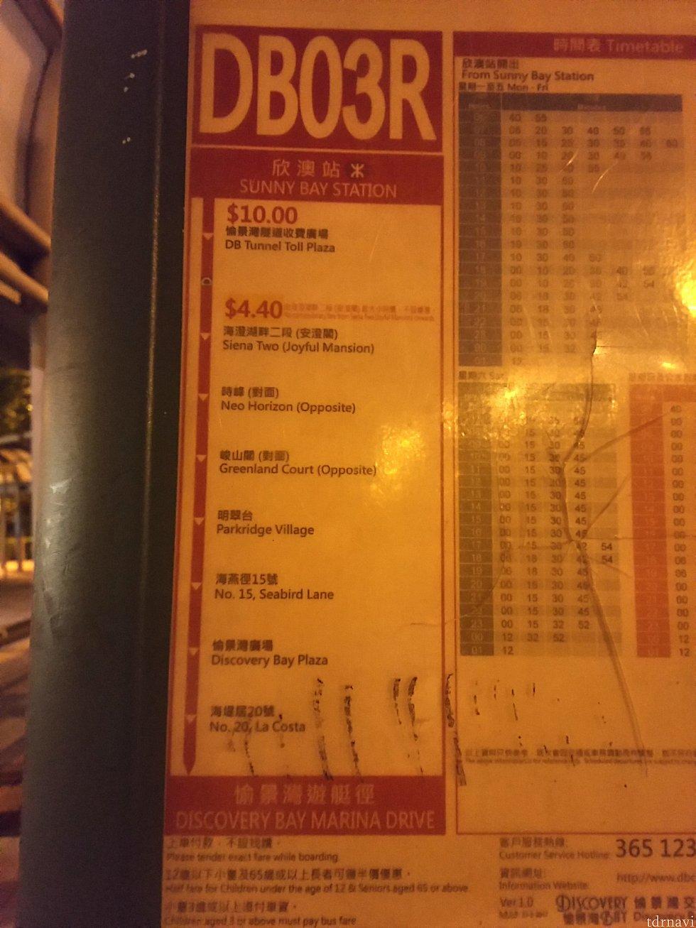 サニーベイ駅発の『DB03R』の時刻表。少々見辛いですが、遅くまで動いているのがわかります。