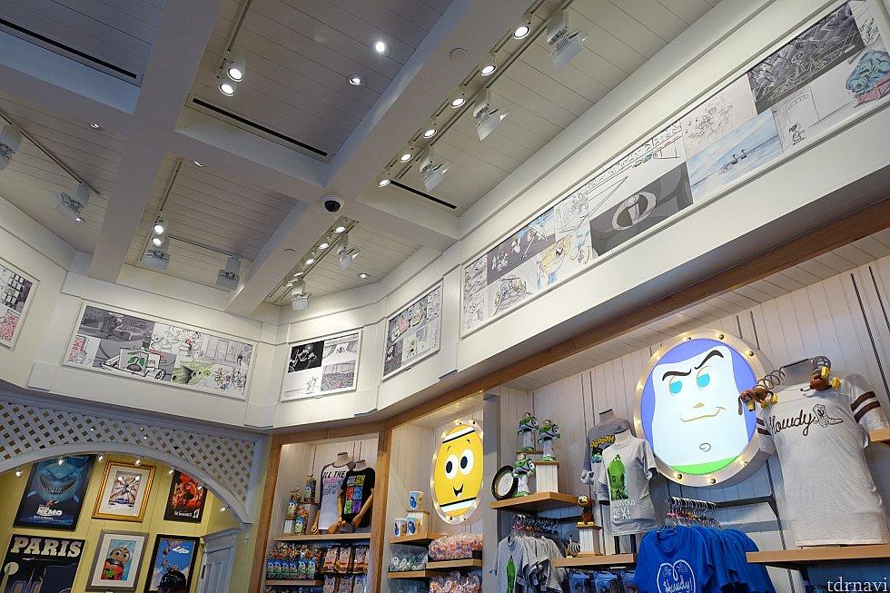 店内にはピクサー作品の絵コンテがずらり。