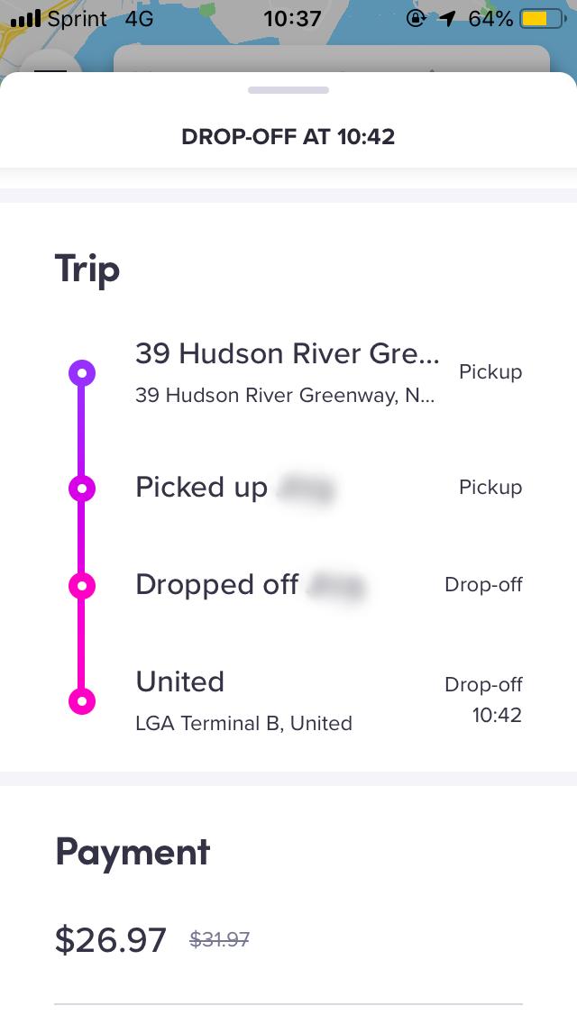 JFK空港より、LGA空港の方が距離が短いため、少し安い。