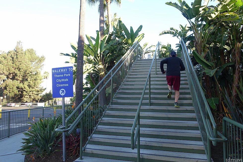 歩道橋を登ります。