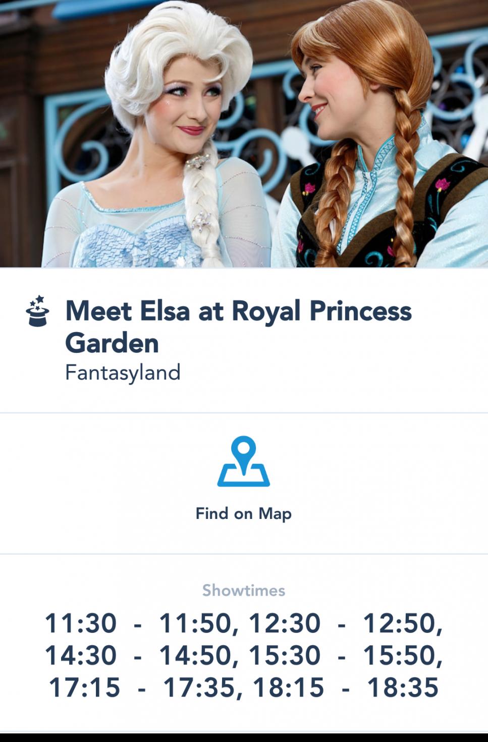 【公式アプリ】このように時間が書かれているプリンセスには会えます。この日はエルサが朝から出てますね😁