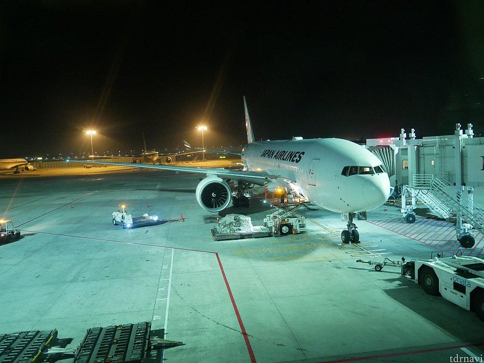 帰りは1:50出発のJAL38便。 飛行機では喉が乾くので、離陸後に水が配られるまでは起きてなきゃ!と思ってましたが、なんと離陸前に水を配ってくれました!なので、離陸する頃にはもう寝てました😌