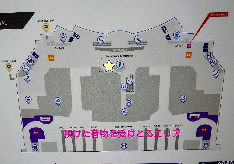 【チャンギ国際空港】 ターミナル1に到着。 両替所は24時間開いてます。荷物を受け取って出口から出て、☆マークの所に2社が隣り合わせにありました。誰も並んでない方で両替しました。 2社のレートは若干違いましたが、2万円両替しても1SGD(約80円)も違わなそうだったので、列の短い方に並べばいい気がします😅