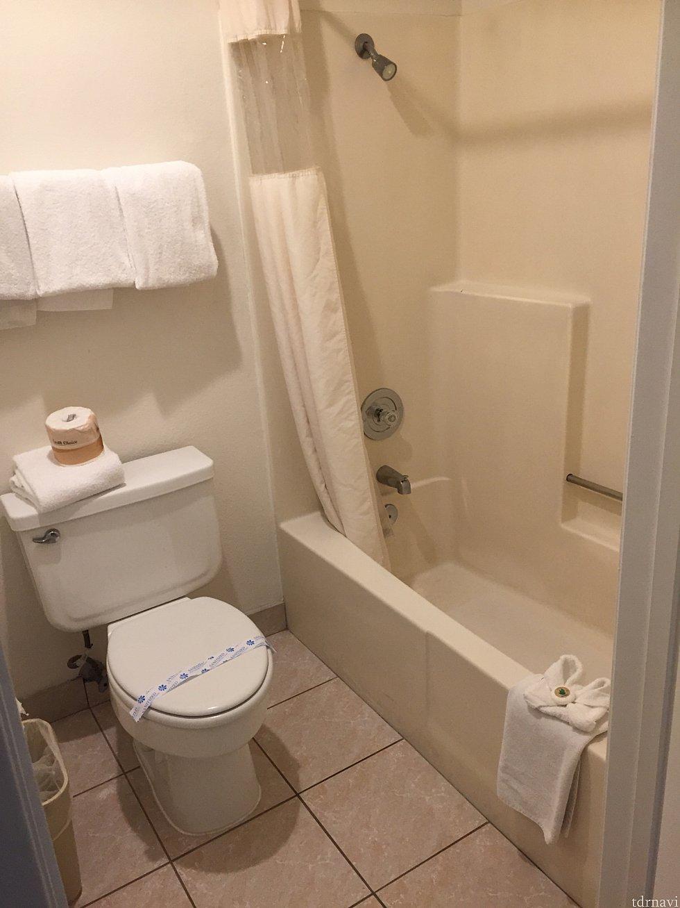 バスルームです。シャワーが固定式で、個人的に低めの位置だったのでちょっと使いづらかったです。