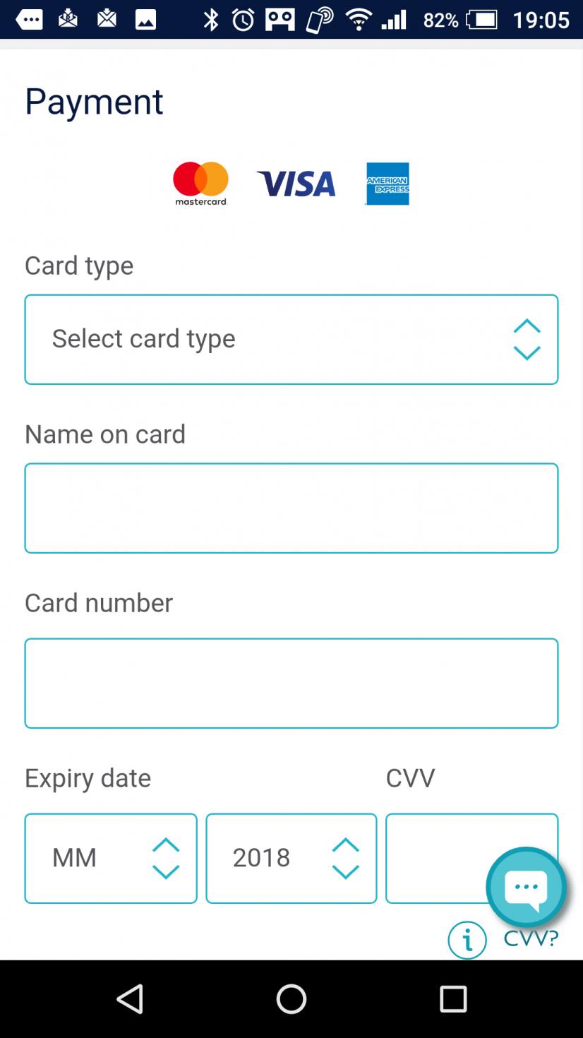 支払い方法。クレジットカードはVISA Master Amexから選べます。