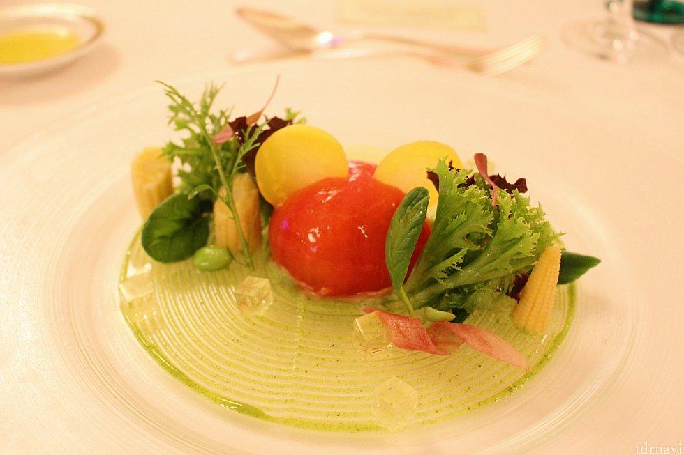海老と帆立貝とアボカドのトマトファルシ ホワイトバルサミコのジュレミッキーシェイプ★