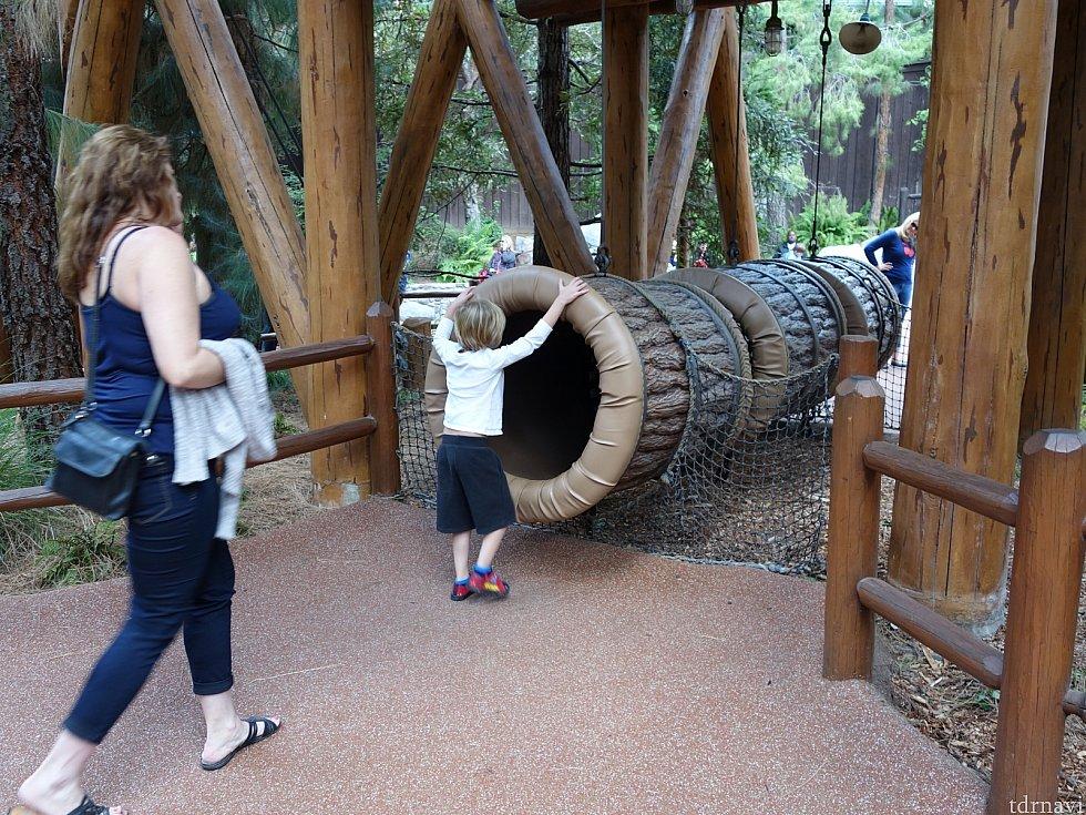 揺れる丸太トンネル