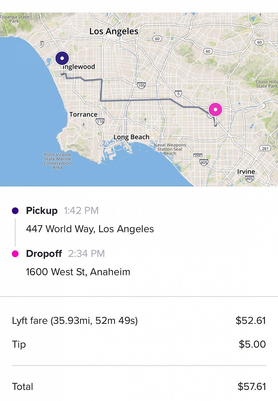 Lyft明細🚗チップは車を降りるときに少し現金でお渡ししたのでネットからは少なめにしてます💵