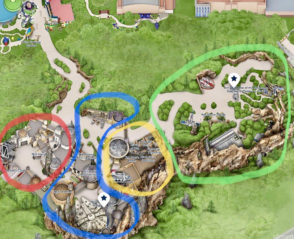 まずはエリアマップ。メインエントランスは右上、Grand Avenueから。もう一つの入口はトイストーリーランド側。緑が自然に囲まれた郊外エリア。黄色がマーケット、青がファルコン周辺、赤がファーストオーダーの4つエリアに分かれています。