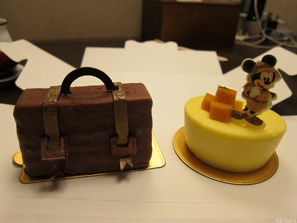 次の日も別のケーキをいただきました。スーツケースを模したチョコケーキと、ミッキーマンゴーチーズケーキ。