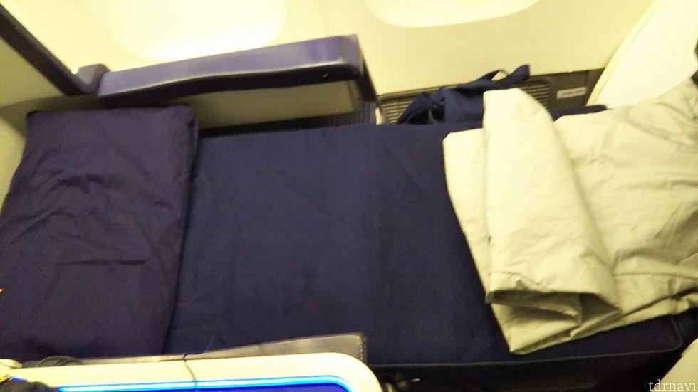 ベッドにしました。 フルフラットは寝やすいです。お布団は保温性が高すぎて少し暑い。おやすみなさーい。