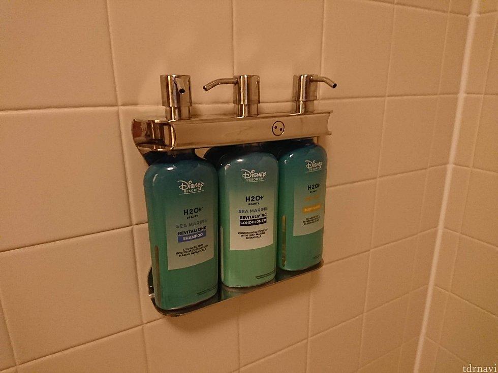 シャンプー・コンディショナー・ボディソープがお風呂場に固定されていました。ちょっとした変化。