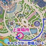 上演場所とキャラクター登場ルートのマップ