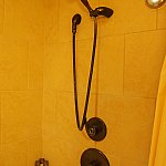 シャワーは可動式。だけど、掛けるところが1箇所のみで位置がちょっと高いです。