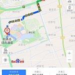 """【ルート1】最短ルートでは""""迎宾高速 S1➡️唐黄路➡️探索路➡️申迪北路➡️トイストーリーホテル""""となっているが道が通れない恐れも?! (上海浦東空港T1➡️トイストーリーホテル付近拡大図)。"""