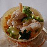 海老や人参、瓜系の何かが入った炒め物。ミッキーやハンドの形をしてます。※二人分です