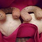 パンです。蹄鉄形がゴマ、白いパンはふわふわでした。