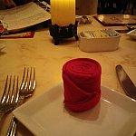 夕食:バラのナプキン