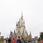 シンデレラ城をバックに撮ろうとするとキャラクターが正面に来たときに、背しか見えない場合があります。