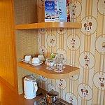壁紙もミニーちゃんの様々な表情が!無料のコーヒーとお茶が用意されてます。