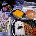日本時間12:00頃の昼食です。ポークを選択したところ、豚丼のほか野菜のお浸し、サラダ(ドレッシングが美味しかったです)、パン、チーズケーキが出ました。