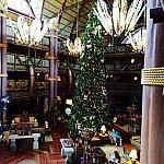 ホテルのロビーと、クリスマスツリー