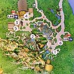 地図で見ると、1番のところが Na'vi River Journeyの入口です。