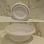 今回の寒さで学んだ、洗面器。平たく折りたためて使いやすい洗面器。お勧めです。