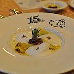 鴨肉とほうれん草のトルッテリーニ フィノッキオのクレマと共に。
