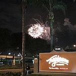 エントランスから、ディズニーランドの花火が!
