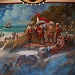 2階ロビーの大きな絵画にはマンハッタン島をオランダ人が買った逸話・・・