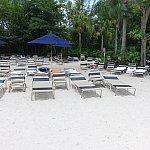 浜辺には人工の砂浜もあります。