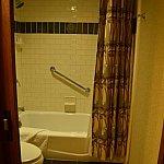 バスルーム。浴槽は浅めで、シャワーは固定式です。