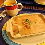 夕食メニュー「Baked Seafood Fried Rice」スープ付き。132ドル