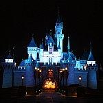 Sleeping Beauty Castle Lighting-up in Hong Kong Disney Land