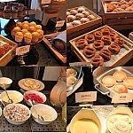 朝ごはん:(上段)いろんなパンやマフィンが沢山あります!!(左下)オムレツの中身を選べます♪(右下)キャラクターのワッフル!はちみつやメープル等いろんなソース♪