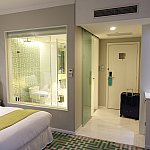 シャワールームはガラス張りですが、電動カーテンで隠せます。