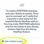 この画面になるので、上の『∨』か下の『Link a ticket or pass』をタップ