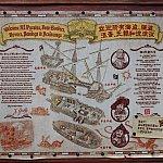 海賊船のフロアマップ。3階建てになっていて、それぞれにジャックスパロウ船長などの絵画が飾られています。