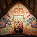 アドベンチャーアイルのレストランの壁画に描かれているコンドル。古代より重要な位置づけだったようです。